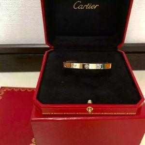 Cartier Rose Gold Love Bracelet Pink Sapphire 17